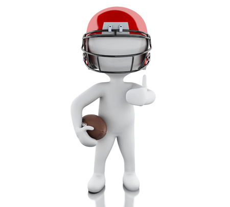 sport man: 3d renderer image. American football player with ball. Sport concept. Isolated white background. Stock Photo