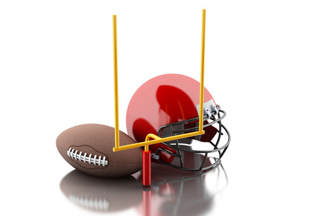 football helmets: 3d renderer image. American football helmets, football goal and ball. Sport concept. Isolated white background.
