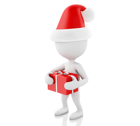 christmas concept: 3d renderer image. White people with red gift box. Christmas concept. Isolated white background. Stock Photo