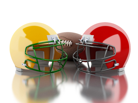 football helmets: 3d renderer image. American football helmets and ball. Sport concept. Isolated white background. Stock Photo