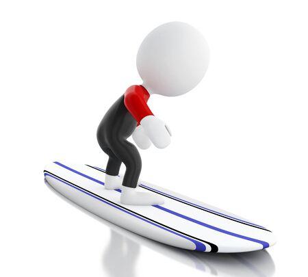 tabla de surf: la imagen de render 3D. La gente blanca que practican surf en tabla de surf y equipos de uso. Concepto de deporte. fondo blanco aislado.