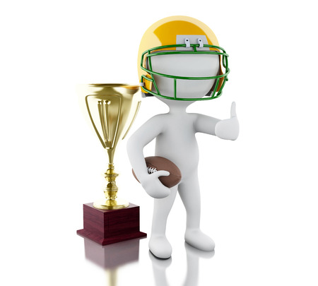 little league: 3d renderer image. American football player with ball. Sport concept. Isolated white background. Stock Photo