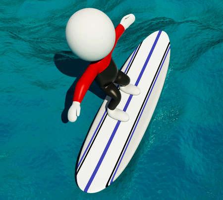 tabla de surf: procesador de imagen 3D. La gente blanca que practican surf en tabla de surf y equipos de uso. Concepto de deporte. Foto de archivo