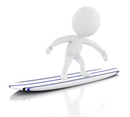 tabla de surf: la imagen de render 3D. La gente blanca que practican surf en tabla de surf. Concepto de deporte. fondo blanco aislado.