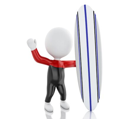 watersports: 3d renderer image. White people with surfboard and wearing equipment. Sport concept. Isolated white background.