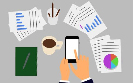 smartphone business: Vector illustration. Business workplace with people using smartphone. Business concept. Stock Photo