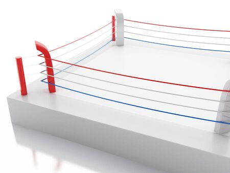 sporting event: 3d renderer image. 3d Boxing ring against isolated white background. Sports concept.
