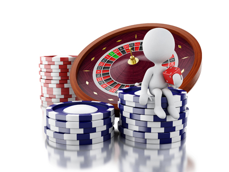 3d renderer image. White people with casino roulette wheel, chips and dice. Gambling games. Isolated white background. Stok Fotoğraf