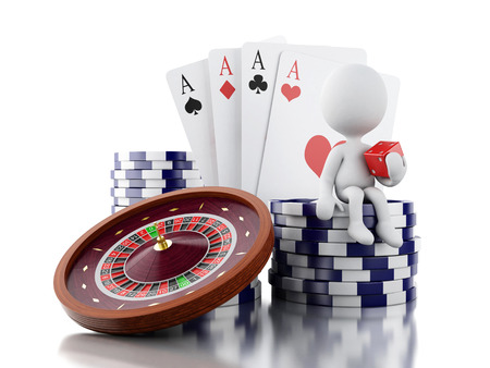 luck wheel: 3d renderer image. White people with casino roulette wheel, chips, poker cards and dice. Gambling games. Isolated white background. Stock Photo