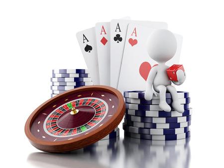rueda de la fortuna: la imagen de render 3D. La gente blanca con rueda de ruleta del casino, fichas, cartas de póquer y dados. Los juegos de juego. fondo blanco aislado.