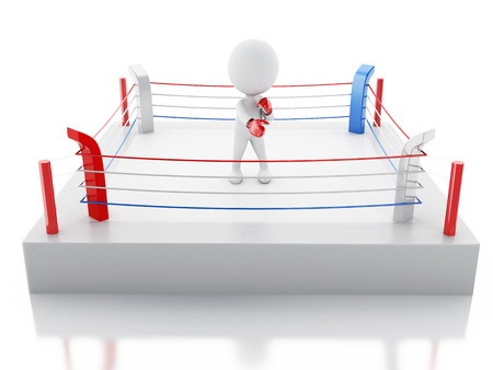 sporting event: 3d renderer image. White people with red boxing gloves in the ring. Sport concept. Isolated white background. Stock Photo