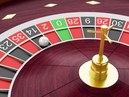 number 14: 3d renderer image. Casino roulette wheel with ball on number 14. Gambling games.