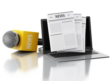 proclaim: 3d renderer image. News microphone and laptop with news article. Isolated white background.