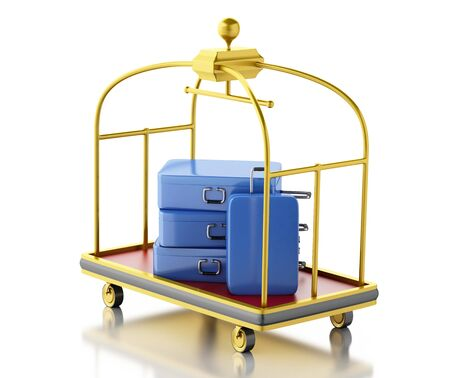 trolley case: 3d renderer image. Baggage cart with blue suitcases. Isolated white background. Stock Photo