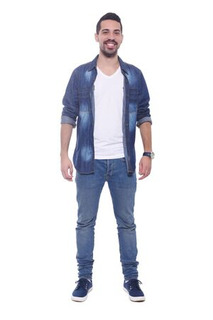 full length: Full length of a young latin man. Isolated white background. Stock Photo