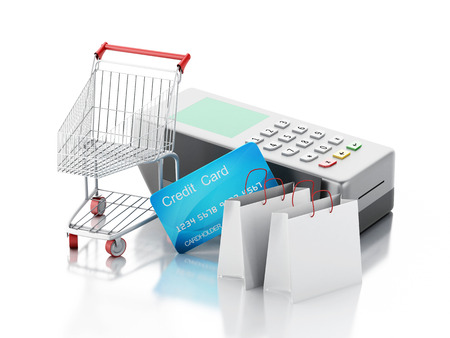 card reader: 3d renderer image. Credit card and card reader with shopping cart and bags. Isolated white background.