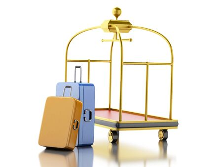 3d renderer image. Luggage cart with colorful suitcases. Travel concept. Isolated white background.