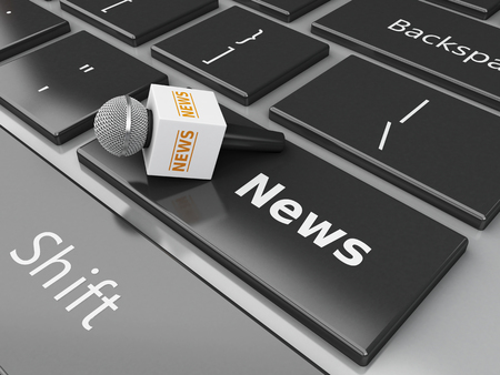 newsgroup: 3d renderer image. News microphone and computer keyboard with word News.