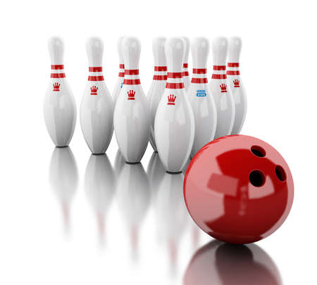 3d renderer image. Bowling pins and red ball. Isolated white background. Stock Photo