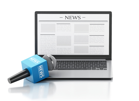 article: 3d renderer image. News microphone and laptop with news article. Isolated white background.