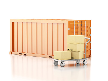 arranging: 3d renderer image. Cargo container with cardboard boxes. Isolated white background.