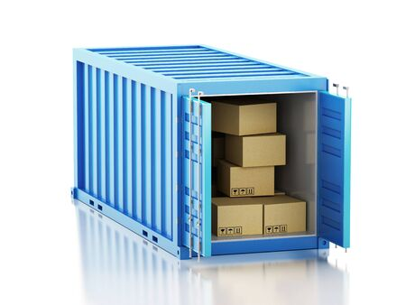 shipped: 3d renderer image. Open container with cardboard boxes. Isolated white background. Stock Photo