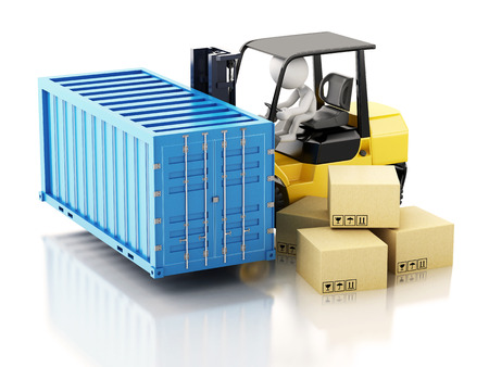 commerce and industry: 3d renderer image. carrying a cargo container with a forklift. Industry concept. Isolated white background. Stock Photo