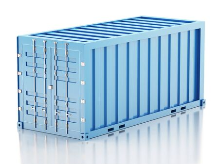 cargo container: 3d renderer image. Blue cargo container. Industry concept. Isolated white background.
