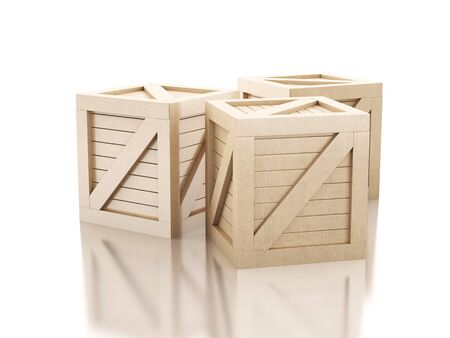 crates: 3d image renderer. Against Wooden crates isolated white background.