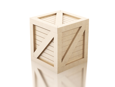 boxed: 3d image renderer. Against wooden crate isolated white background.