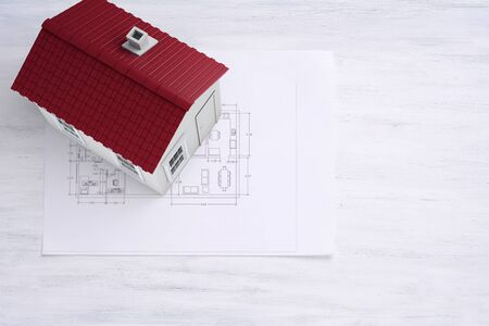 house plan: House plan and big house. Architecture concept.