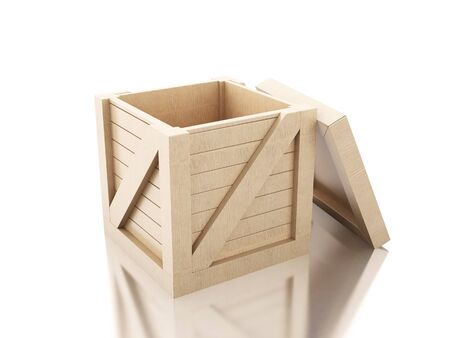 3d image renderer. Open wooden crate isolated Against white background.