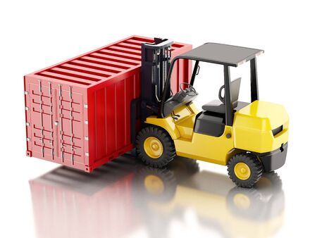 fork lifts trucks: 3d renderer image. Forklift carrying a cargo container. Industry concept. Isolated white background.