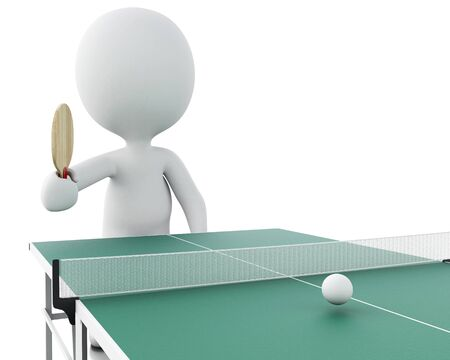 ping pong: 3d renderer image. White people playing ping pong. Sport concept. Isolated white background.