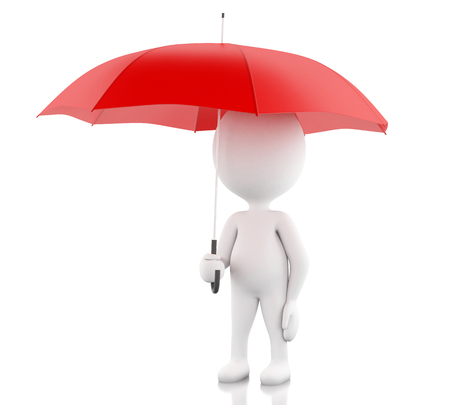 red umbrella: 3d renderer image. White people with a red umbrella. Isolated white background. Stock Photo