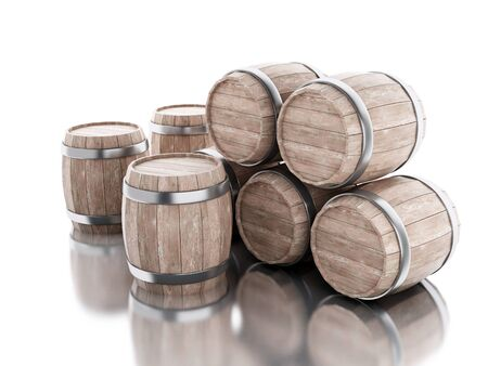 3d renderer image. Beer barrels. Isolated white background. Stock Photo