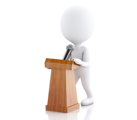 3d renderer image. White people speaking at a press conference. Isolated white background. Stock Photo