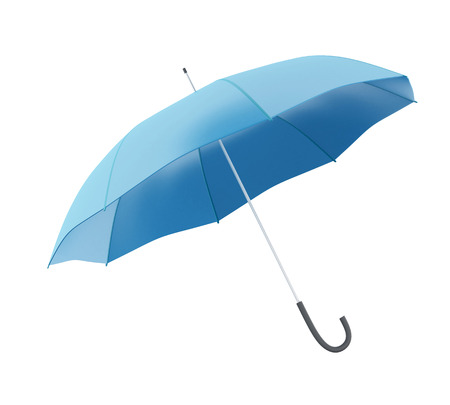refuge: 3d renderer image. Blue umbrella. Isolated white background.