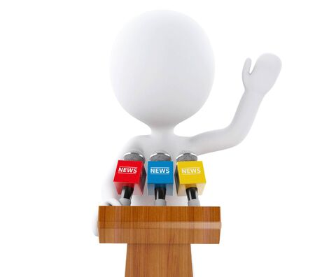 spokesperson: 3d renderer image. White people speaking at a press conference. Isolated white background. Stock Photo