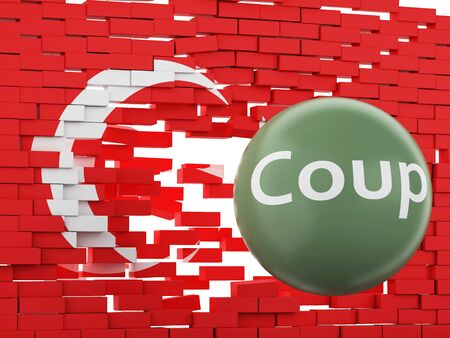 gunfire: 3d renderer image. Turkey flag. Military Coup Attempt concept. Stock Photo