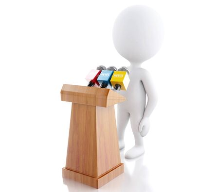 press conference: 3d renderer image. White people speaking at a press conference. Isolated white background. Stock Photo