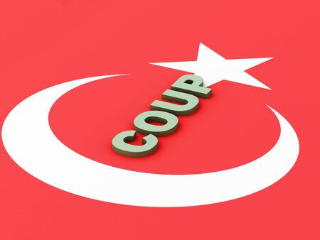 coup: 3d renderer image. Turkey flag. Military Coup Attempt concept. Stock Photo