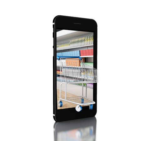 3d renderer image. Trolley with grocery shop in smartphone. Shop online concept. Isolated white background.