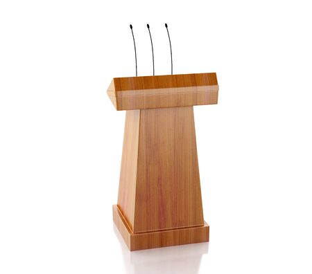 proclamation: 3d renderer image. Wooden podium with microphones. Isolated white background.
