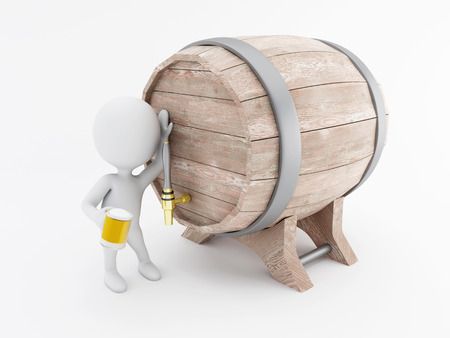 3d renderer image. White people drinking beer from a beer barrel. Isolated white background.