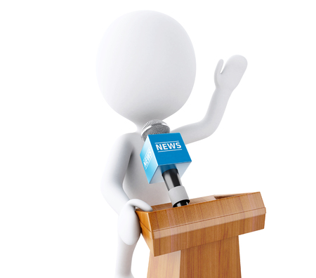 oration: 3d renderer image. White people speaking at a press conference. Isolated white background. Stock Photo