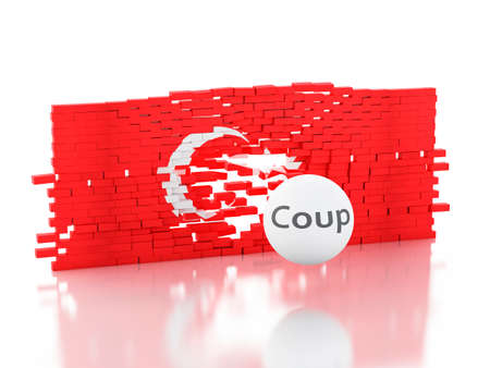 coup: 3d renderer image. Turkey flag. Military Coup Attempt concept. Isolated white background