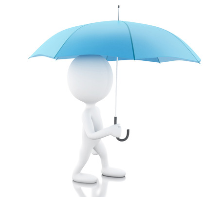 3d renderer image. White people with a blue umbrella. Isolated white background.