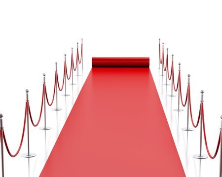 red carpet background: 3d image renderer. Empty red carpet. Isolated white background.