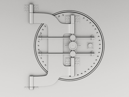 3d renderer image. Metallic bank vault with closed door. Security and safe concept. Foto de archivo